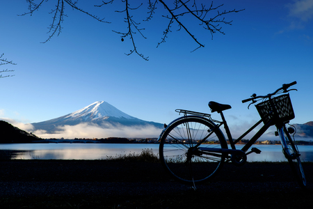 Silhouette of bicycle at Lake Kawaguchi Mt.Fuji ,japan Stock Photo