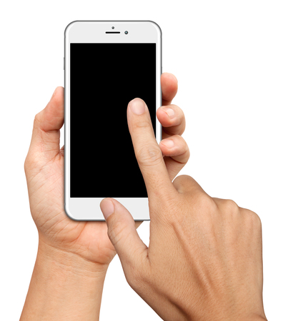 Hand hold and Touch on Curve Screen Smartphone on white background Stok Fotoğraf