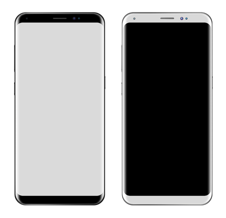 Black Smartphone & White Smartphone with big screen isolated on white background