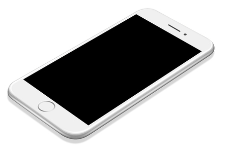 3D illustration Realistic perspective white smartphone mockup on white background