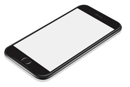 3D illustration Realistic perspective black smartphone mockup on white background Stok Fotoğraf