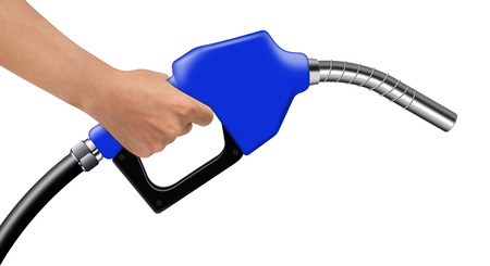Hand hold blue fuel nozzle on a white background