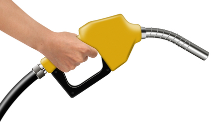 combustible: Hand hold yellow fuel nozzle on a white background