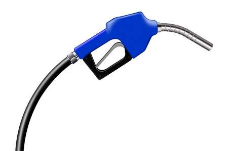 combustible: 3D illustration blue fuel nozzle on a white background