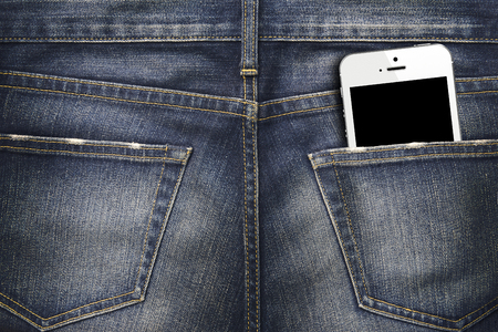 Denim Jeans texture background with white smartphone in the pocket