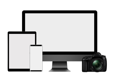 3D illustration High set of modern computer monitor, tablet pc, mobile phone and DSLR Camera isolated on white background