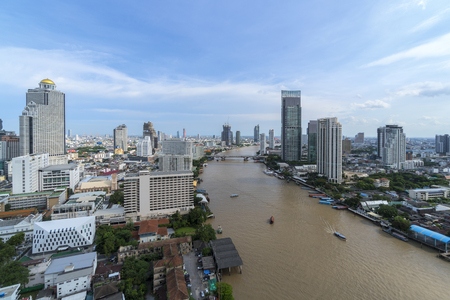 Aerial View over the river of Bangkok, Thailand Editöryel