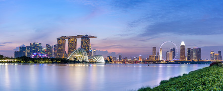 Panoramic of Singapore Skyline after sunset