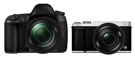 3D illustration DSLR Camera vs Mirrorless Camera isolated on white background