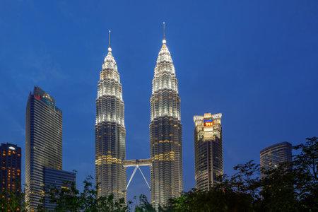 KUALA LUMPUR, MALAYSIA - 22 JUNE 2017: The Petronas Twin Towers during sunset