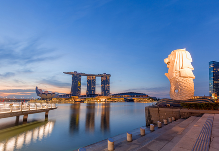 Singapore - September 25, 2017 The Merlion fountain and The Marina Bay Sands. Merlion is a famous Attraction of Singapore.