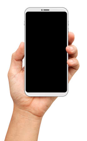 hands are holding a small bezels Smart Phone Isolated on white background