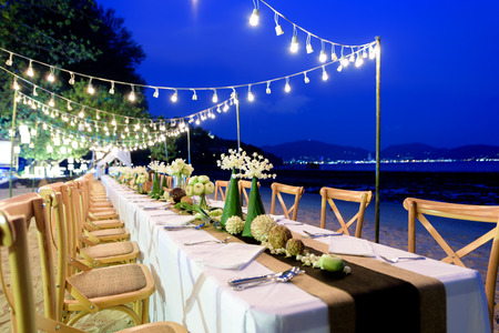 Beautiful table set up by the beach