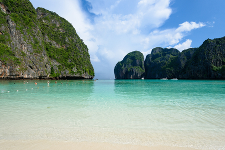 Beautiful Maya bay of Phi Phi Islands in the morning with less tourist 2017 Stock Photo