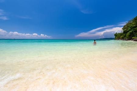Beautiful beach of bamboo island near Phi Phi island in Krabi, Thailand