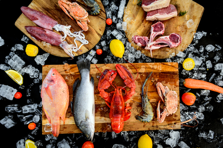 BBQ ingredient; fish, squid, lobster, shrimp, vegetable and ice on black background Stockfoto