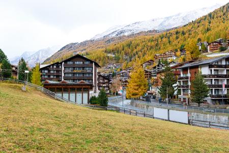 Zermatt Switzerland during Autumn season with snow  on top of mountain