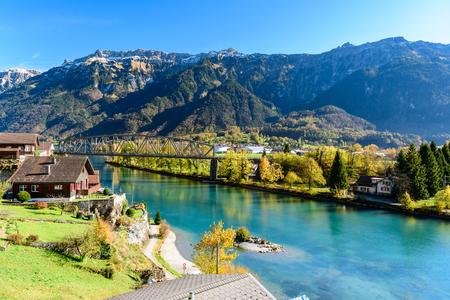 Beatiful river at Interlaken Switzerland in sunny day during autumn. Stockfoto