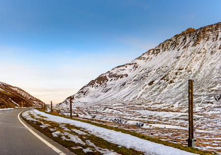 Beautiful pass near Andermatt, Switzerland in early winter. Mountain is cover by snow.