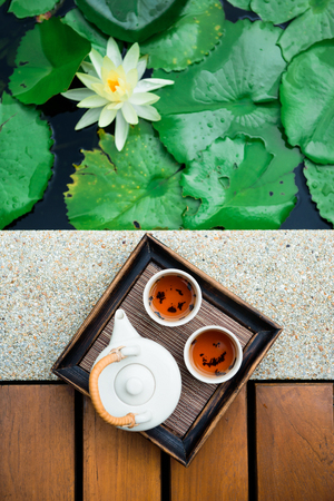 Concept picture for Chinese new year, Chinese tea set and lotus