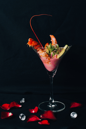 Concept picture for Valentines day. Special food Lobster for couple