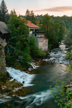Beautiful sunset at famous Rastoke waterfalls village in Slunj, Coratia.