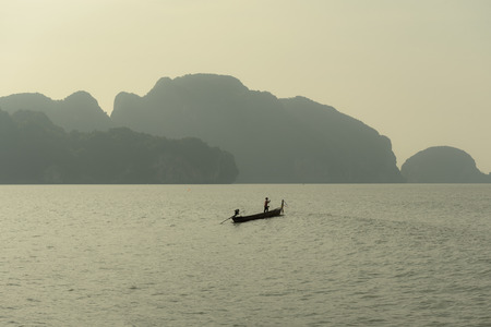 Beautiful scenic view of Phang Nga bay near Phuket Thailand at golden time in the morning