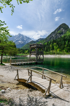 A beautiful spring season at Jasna Lake in Kranjska Gora, Slovenia