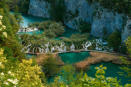 Breathtaking view during summer season at Plitvice Lakes National Park in Croatia Stockfoto
