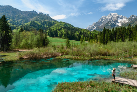 A beautiful spring season at Zelenci lake in Kranjska Gora, Slovenia
