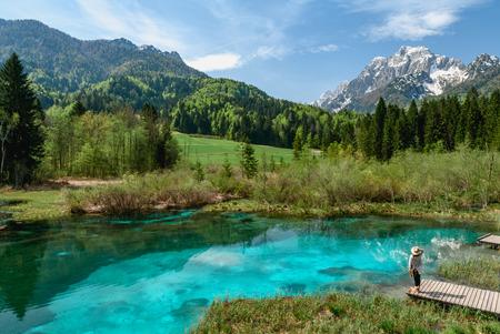 A beautiful spring season at Zelenci lake in Kranjska Gora, Slovenia 免版税图像 - 105397337