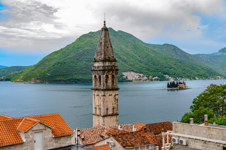 Beautiful view on Perast, an old city on coastline of adriatic sea in Montenegro
