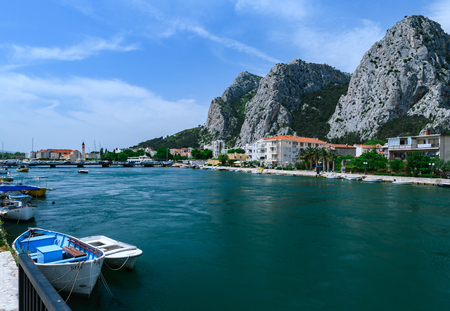Beautiful view at Omis on the coast line of Croatia Editorial