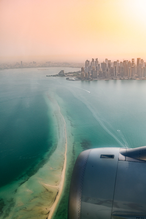 Aerial view of Doha capital city of Qatar with tower and construction for world cup 2022 Stock Photo