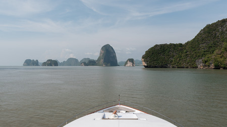 Luxury yacht is crusing to beautiful phang-nga bay near Phuket, Thailand