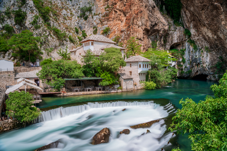 Beautiful village Blagaj and waterfall on Buna spring and waterfall in Bosnia and Herzegovina