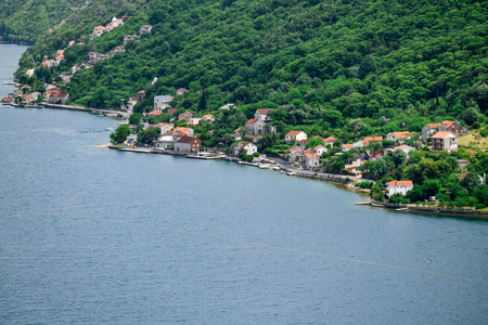 Famous Gospa-od-Shkrpjela from a birds-eye view of the Boko-Kotor Bay in Montenegro Stockfoto
