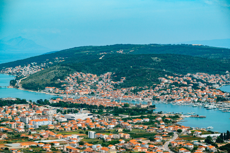 View of Trogir in Croatia from view point Stok Fotoğraf