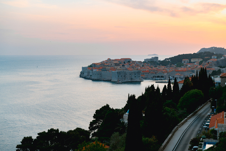 Beautiful sunset view of famous Dubrovnik old