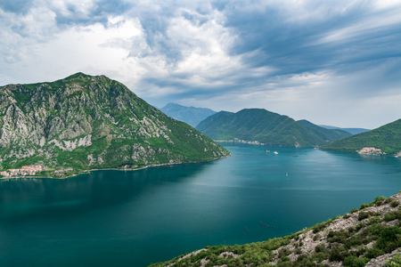 Famous Gospa-od-Shkrpjela from a bird's-eye view of the Boko-Kotor Bay in Montenegro