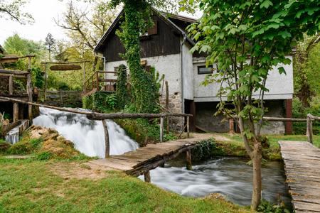 Beautiful waterfall at famous Rastoke village in Slunj, Coratia.