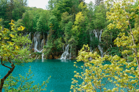 Breathtaking view during summer season at Plitvice Lakes National Park in Croatia Stok Fotoğraf