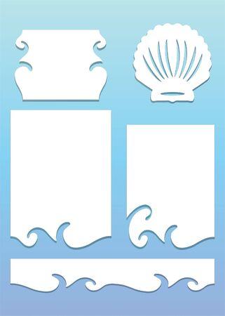 Beach Die cut design in blue