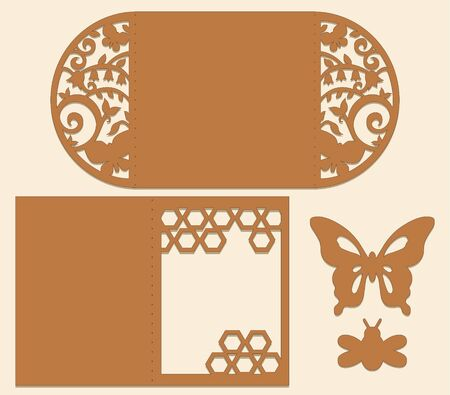 Garden theme die cut design in brown