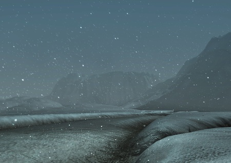 snowscene: snowblizzard at night process 3D background