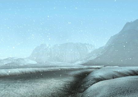 snowscene: snowblizzard at day process 3D background Stock Photo