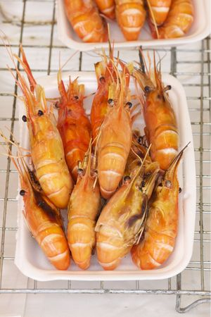 grilled shrimp top view Stock Photo - 8217130