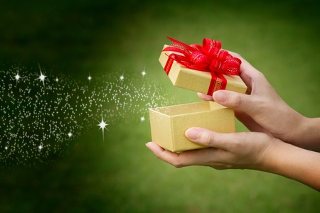 caja navidad: Caja de regalo con el espacio de texto Foto de archivo