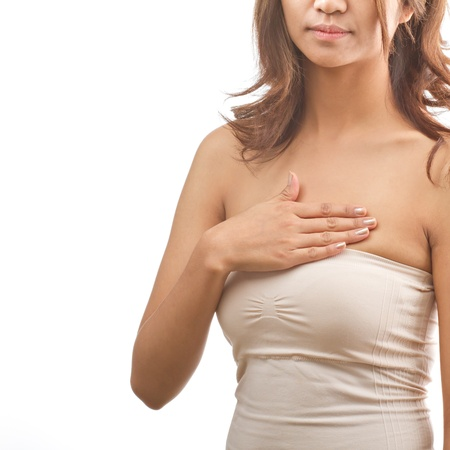 Breast Cancer woman examines her breast on isolated white background photo