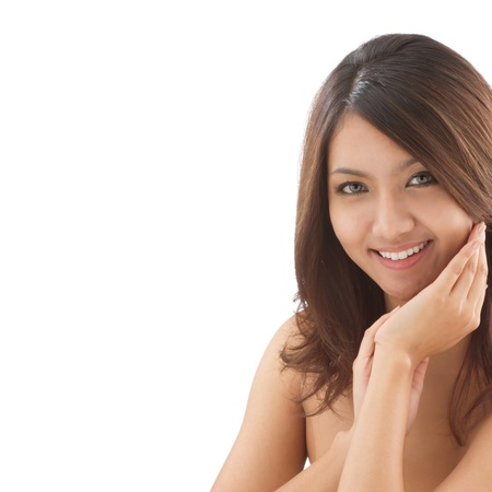 Asian woman beauty face closeup portrait on isolated white background with space photo